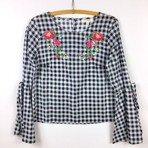 Gingham Embroidered Bell Sleeve Top